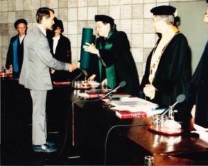 Karel receiving his PhD in 1988